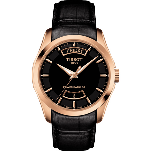 TISSOT Couturier 建構師80小時動力儲存機械腕錶~黑x玫塊金框39mm T
