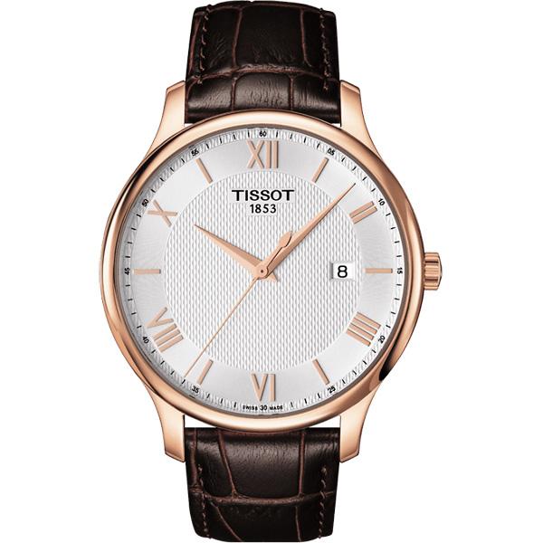 TISSOT Tradition 羅馬 大三針石英腕錶~玫瑰金框x咖啡42mm T0636