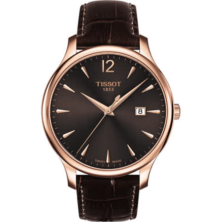 TISSOT Tradition 經典大三針石英腕錶-咖啡x玫瑰金框/42mm T0636103629700
