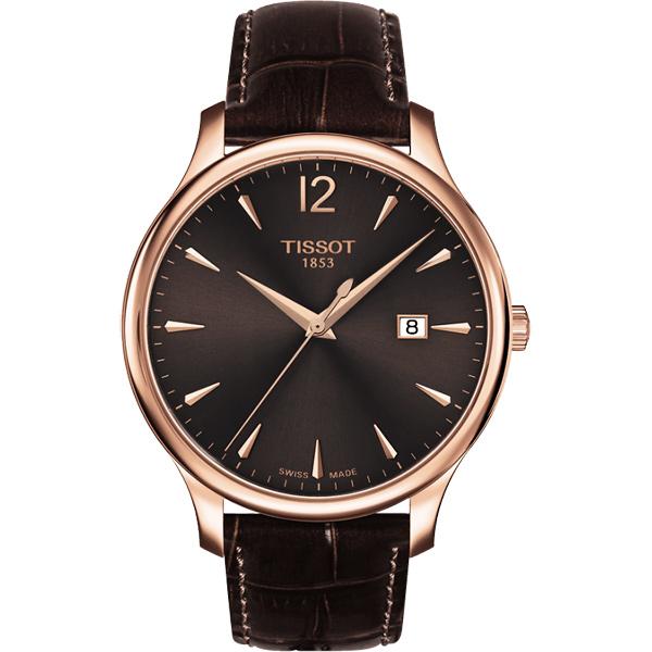 TISSOT Tradition 大三針石英腕錶~咖啡x玫瑰金框42mm T0636103