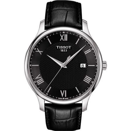 TISSOT Tradition 羅馬經典大三針石英腕錶-黑/42mm T0636101605800