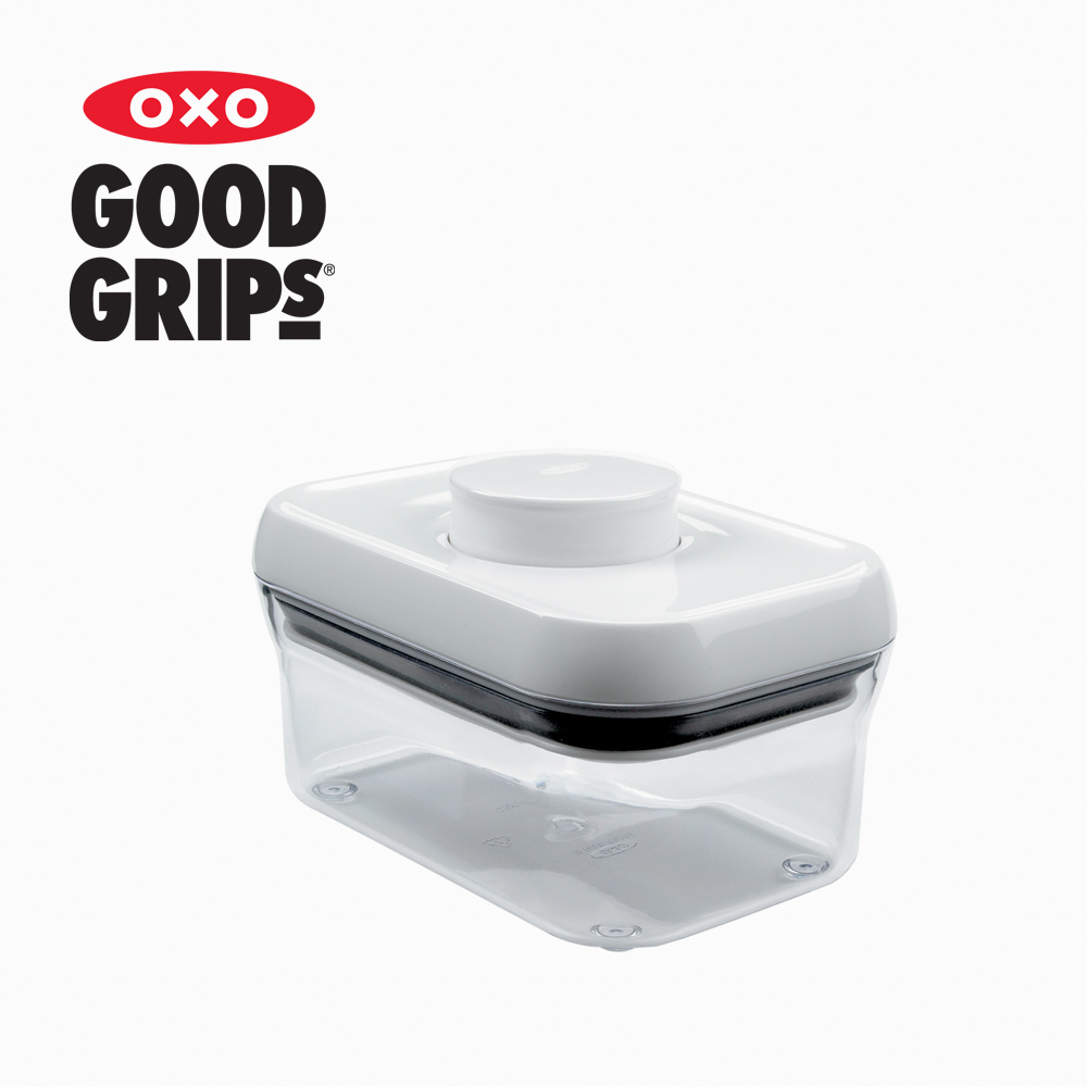 【美國OXO】POP 保鮮收納盒 (白色長方 500ml) - 兩入組