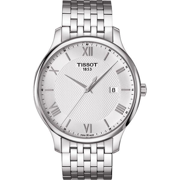 TISSOT Tradition 羅馬經典大三針石英腕錶-銀/42mm T0636101103800