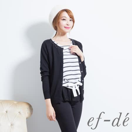 【ef-de】激安 花飾環領針織長袖罩衫外套(黑)
