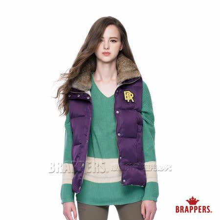BRAPPERS 女款 女用兔毛領仿絨棉背心-深紫