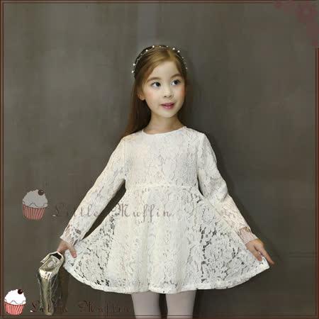 韓版 精靈系優雅蕾絲女孩雙層連身洋裝 100-140