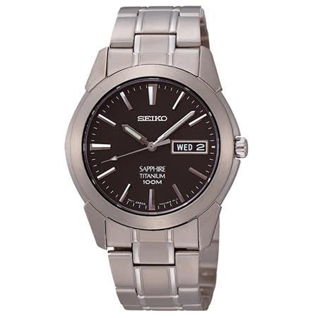 SEIKO 鈦金武士簡約大三針中性腕錶(SGG731P1)-鐵灰/37mm/7N43-0AS0D