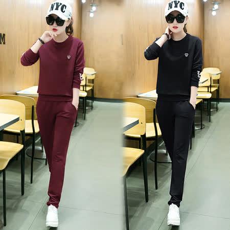 【韓國KW】極素刺繡字母印花運動套裝
