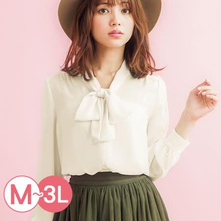 日本Portcros 預購-氣質2WAY喬其紗綁結領巾襯衫(M-3L共三色)