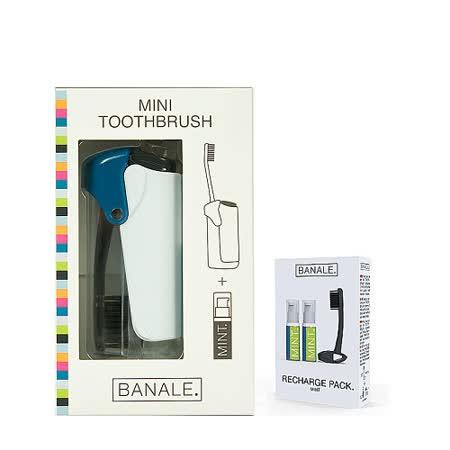 【義大利BANALE】MINI TOOTHBRUSH 隨身旅用牙刷組 - 透明&Blue + 補充包