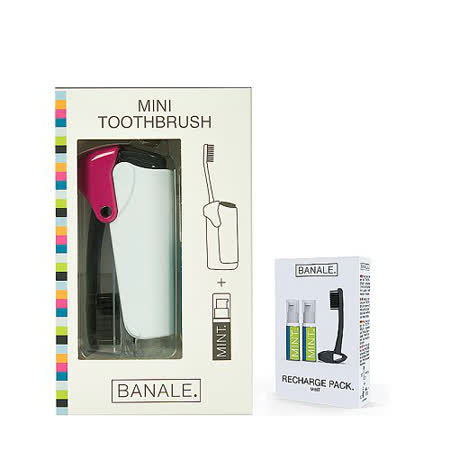 【義大利BANALE】MINI TOOTHBRUSH 隨身旅用牙刷組 - 透明&Purple + 補充包