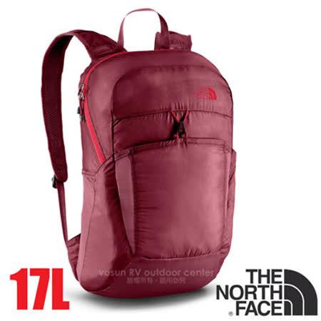 【美國 The North Face】新款 FLYWEIGHT 輕量抗撕裂多功能後背包17L(僅173g 可折疊收納.當攻頂包).適登山健行 自助旅行/CJ2Z 深石榴紅/紅