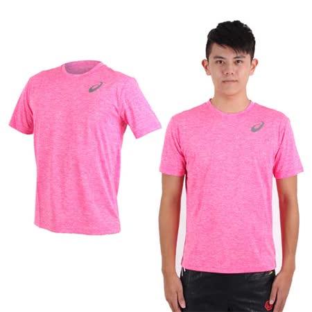 (男) ASICS 運動排汗短袖T恤- 慢跑 路跑 亞瑟士 螢光粉