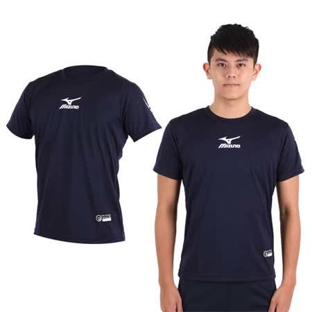(男) MIZUNO 排球短袖上衣-慢跑 路跑 T恤  眼鏡王 美津濃 丈青白