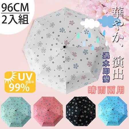 (任選2入)【FL+】自動開合碳纖維抗UV變色晴雨傘(FL-028)-96公分