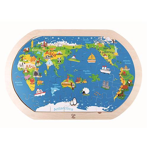 德國Hape愛傑卡 世界地圖拼圖