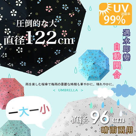 (大+小)自動開合碳纖維抗UV變色晴雨傘-買1送1