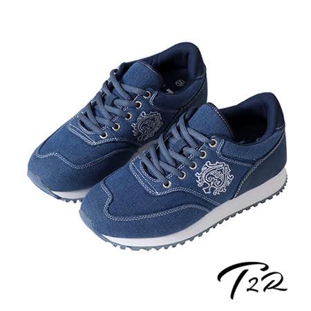 【韓國T2R】韓國T2R丹寧時尚內增高6公分休閒鞋-丹寧藍(5600-0258)