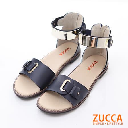 ZUCCA【Z5905BE】優雅金屬飾帶繞踝平底涼鞋-藍色