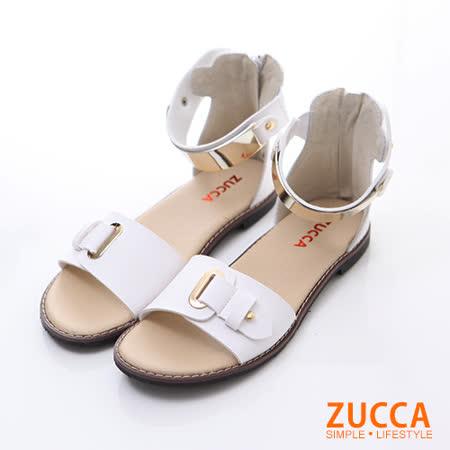 ZUCCA【Z5905WE】優雅金屬飾帶繞踝平底涼鞋-白色