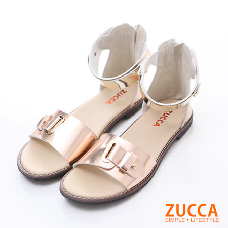 ZUCCA【Z5905PK】優雅金屬飾帶繞踝平底涼鞋-粉色