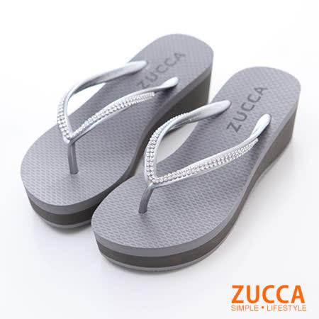 ZUCCA【Z5930GY】T字閃鑽楔型厚底拖鞋-灰色