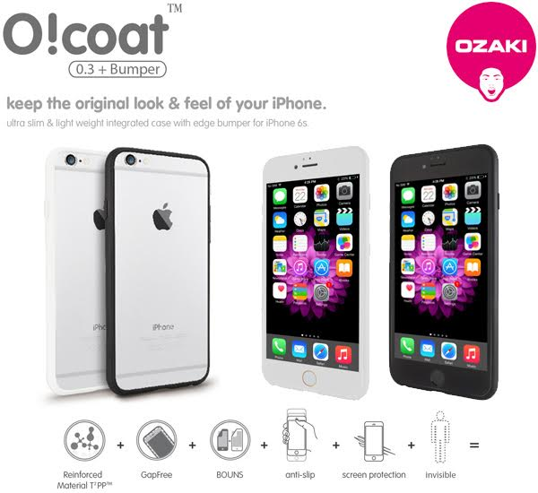 Ozaki O!coat 0.3+bumper(GapFree) for iPhone 6s/6邊框式保護殼