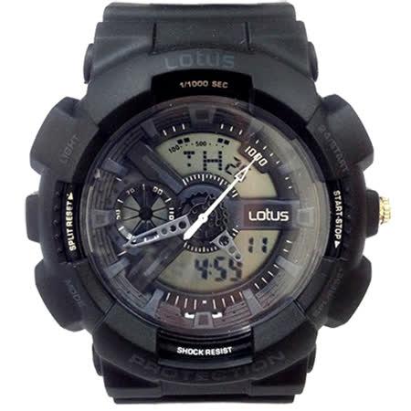 LOTUS 黑潮來襲運動時尚電子腕錶-52mm/防水/禮物/G-SHOCK/現貨/LS-1026-01
