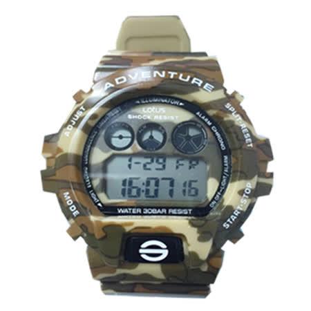 LOTUS 戰地迷彩軍事風潮流腕錶-50mm/防水/禮物/G-SHOCK/現貨/TP1341M-04