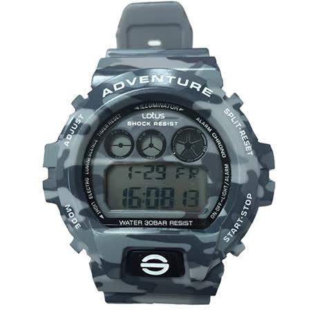 LOTUS 戰地迷彩軍事風潮流腕錶-50mm/防水/禮物/G-SHOCK/現貨/TP1341M-01