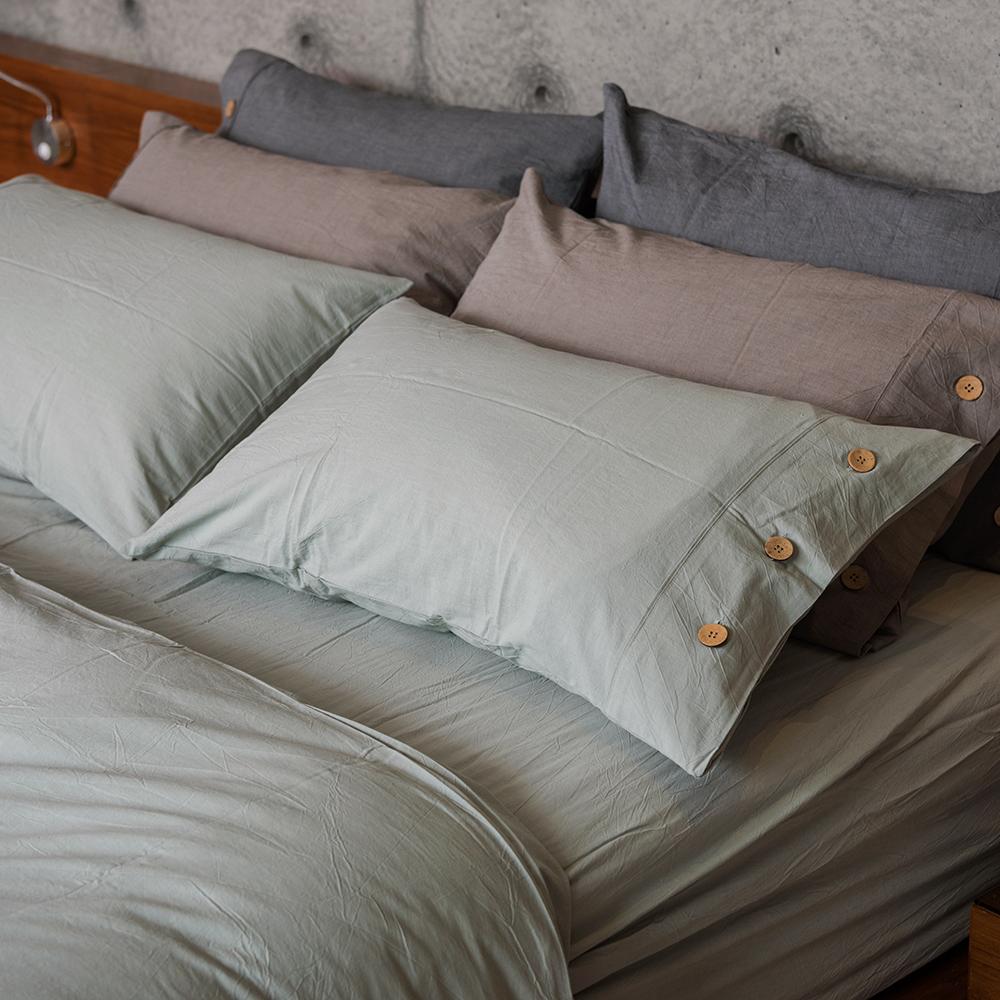 OLIVIA 《原色 灰綠》 水洗棉雙人四件式被套床包組
