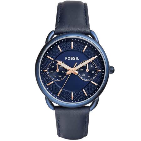 FOSSIL Tailor 優雅時代日曆女錶-藍/34mm ES4092
