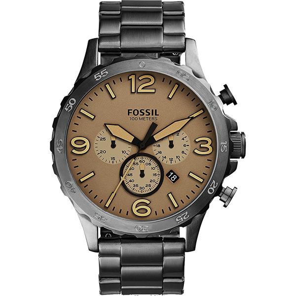FOSSIL Nate 世紀戰神三眼計時腕錶~卡其X灰50mm JR1523