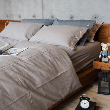 OLIVIA 《原色 棕灰》 水洗棉 加大雙人四件式被套床包組