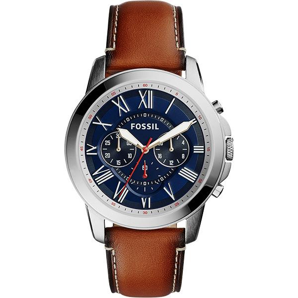 FOSSIL 都會羅馬 計時腕錶~藍x咖啡44mm FS5210