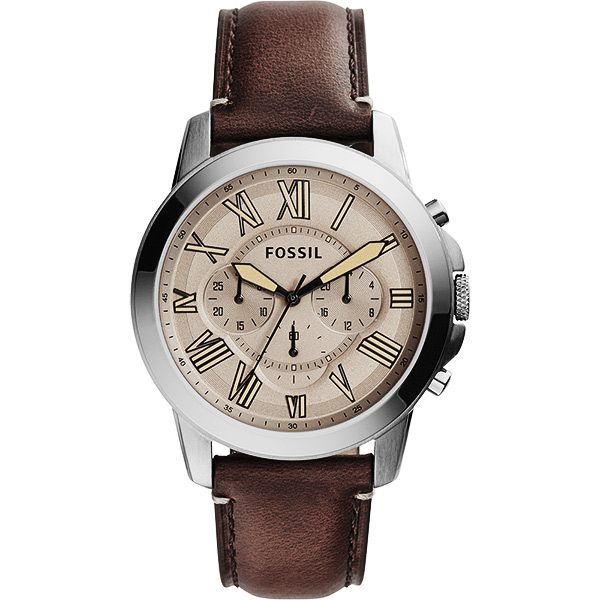 FOSSIL 都會羅馬 計時腕錶~灰x深咖啡44mm FS5214