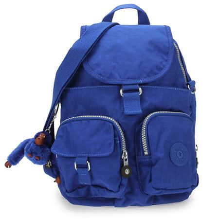 Kipling 經典Basic尼龍Firefly N雙口袋後背包(小/藍色)