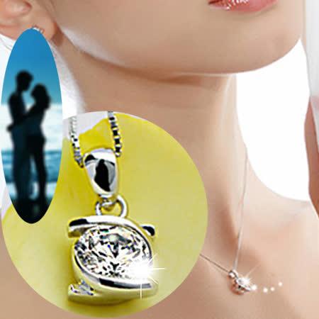 【justlove璀璨配飾】擁抱摯愛S925純銀項鍊0.5克拉施華洛世奇水晶鑽純銀墜飾短項鍊鎖骨鍊(銀) AB-1017