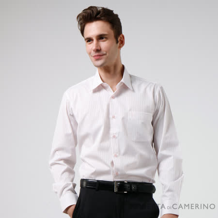 ROBERTA諾貝達 商務必備款 台灣製 條紋緹花長袖襯衫 粉紅色