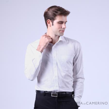 ROBERTA諾貝達 台灣製 嚴選穿搭 素面職場型男長袖襯衫 白色