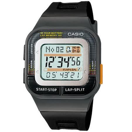 CASIO 卡西歐 10年電力慢跑時尚數位運動錶(SDB-100-1A)-黑按鍵/43.9mm