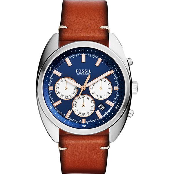 Fossil Buchanan 旗鑑三眼計時腕錶~藍x咖啡42mm CH3045