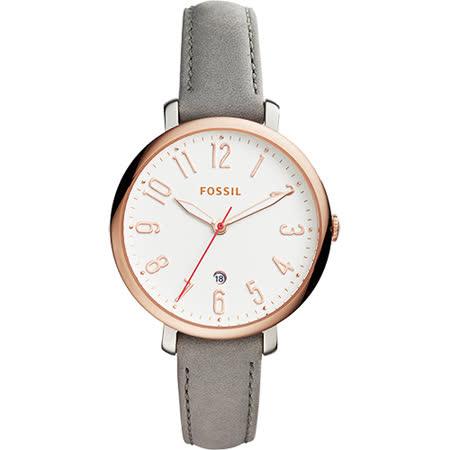FOSSIL Jacqueline 風采時尚女錶-白x玫塊金框x灰/36mm ES4032