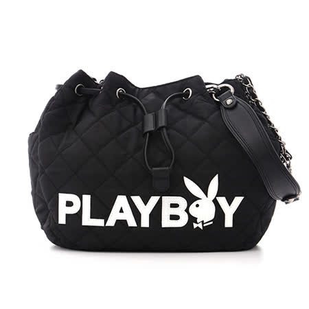 PLAYBOY- Charming Bunny 魅力小野兔系列 鍊帶水桶包-菱格黑