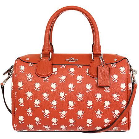 COACH紅底白花PVC印花手提/肩斜背波士頓包