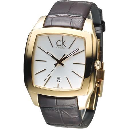 CK 金色殿堂時尚男錶-金框/褐色帶(K2K21620)