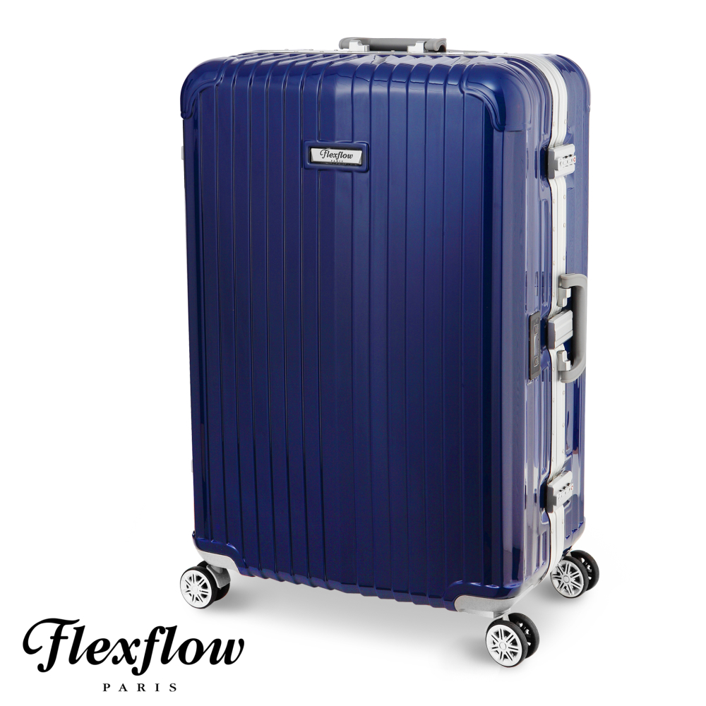 Flexfl新竹 愛 買 美食ow-羅亞爾旅人系列法國精品智能秤重旅行箱-藍色-26吋