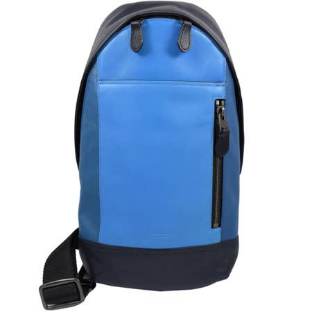COACH 經典LOGO烙印撞色皮革單背後背包.深藍/藍