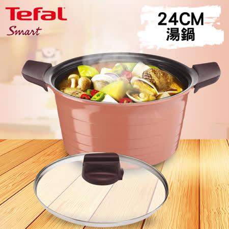 Tefal法國特福 御釜鑄造系列24CM 湯鍋 (附玻璃鍋蓋及矽膠隔熱手套)
