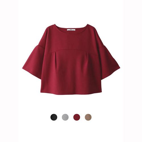 ANNA LUNA ~ VIVI雜誌款 喇叭袖摺邊 上衣^(共四色^)